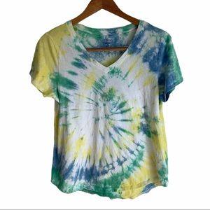 Custom Green/Blue/Yellow Spiral Tie Dye